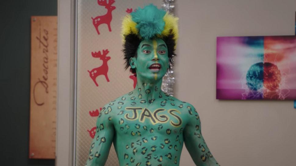 Jason Mendoza in Jacksonville Jaguars body paint on 'The Good Place'