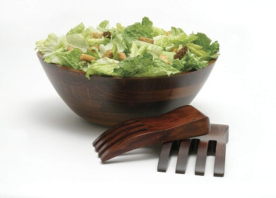 Lipper International Wavy Rim Serving Bowl with Salad Hands