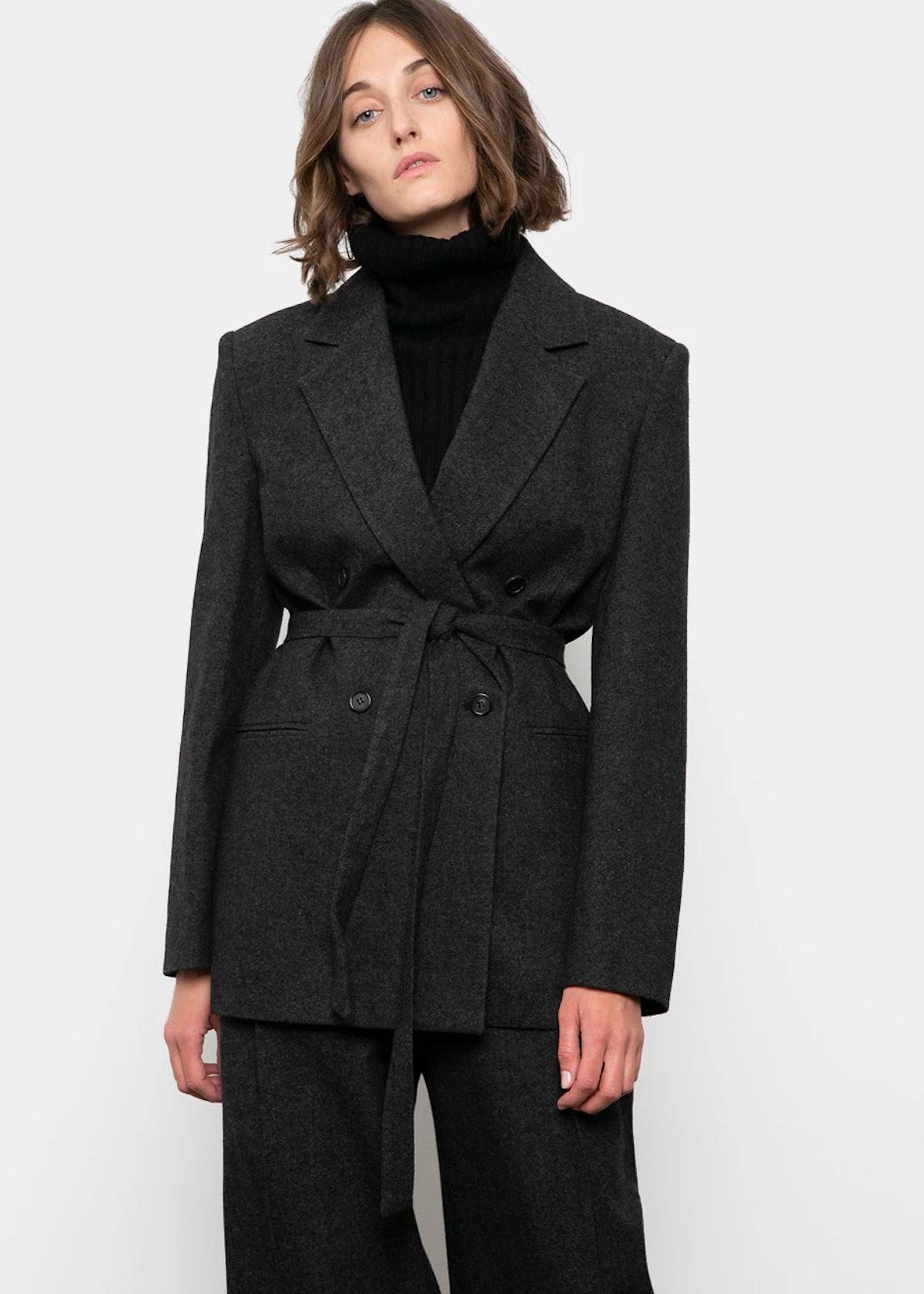 Anthracite Wool Blend Belted Blazer