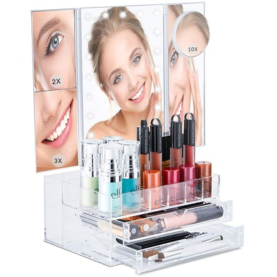 Bellapelle Trifold LED Lighted Mirror With Makeup Organizer