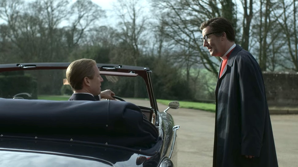 Tobias Menzies as Prince Philip and Tim McMullan as Dean Robin Woods in The Crown