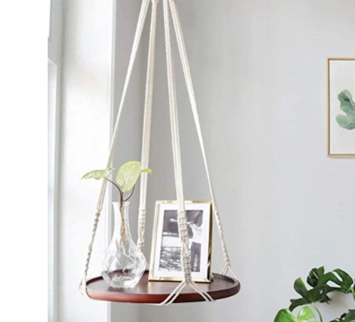 Mkono Macrame Hanging Shelf Indoor Plant Hanger