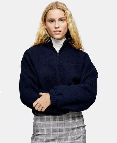 Navy Cropped Fleece Top