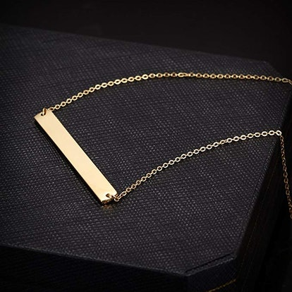 WISTIC Stainless Steel Gold Plated Necklace With Engravable Bar