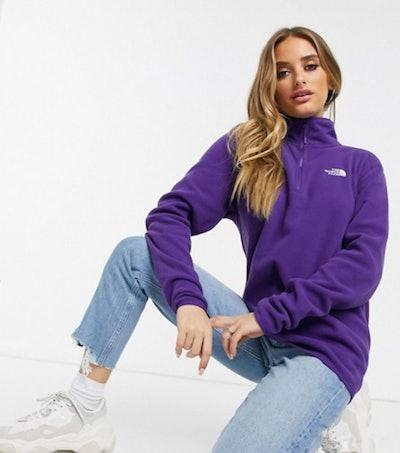 The North Face 100 Glacier 1/4 zip fleece in purple