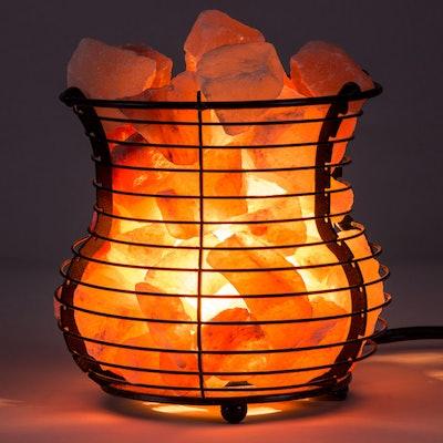 Himalayan Pink Salt Lamp Basket by Crystal Allies