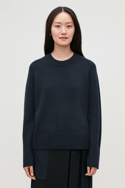 Navy Cashmere Sweater with Rib Detail