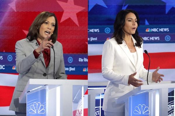 Kamala Harris and Tulsi Gabbard at the November 20, 2019 Democratic debate