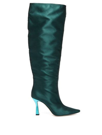 Lina Point-Toe Slouch Satin Knee-High Boots