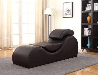 Container Furniture Direct Modern Faux Leather Upholstered Stretch and Relaxation Living Room Chaise Lounge