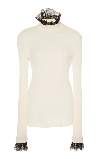 Ruffle Lace-Trimmed Turtleneck Top