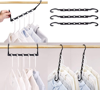 HOUSE DAY Black Magic Hangers Space Saving Clothes Hangers (Pack of 10)