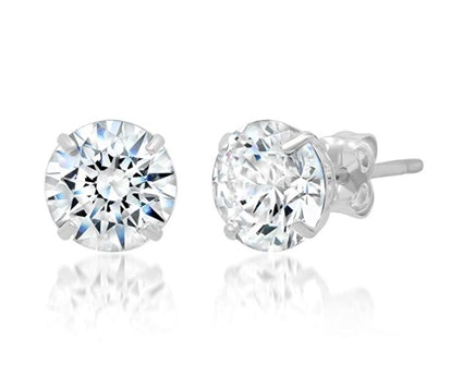 Parade Of Jewels 14k Solid Gold Round Zirconia Stud Earrings