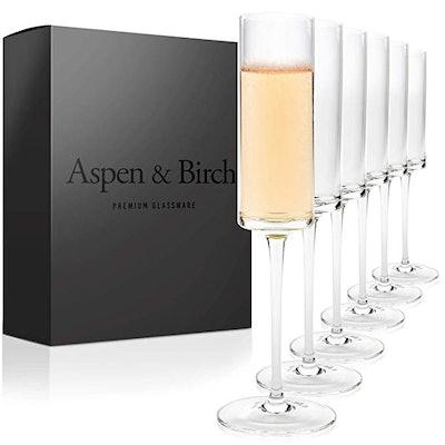 Aspen & Birch - Modern Champagne Flutes Set of 6