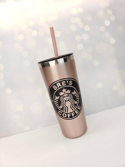 Rose Gold Hot Tumbler With Matte Black Personalized Starbucks Logo