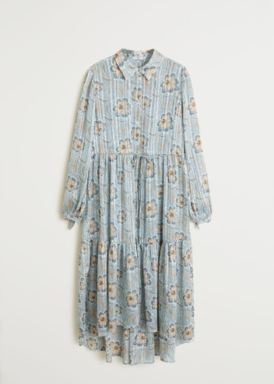 Pleated Floral Shirt Dress