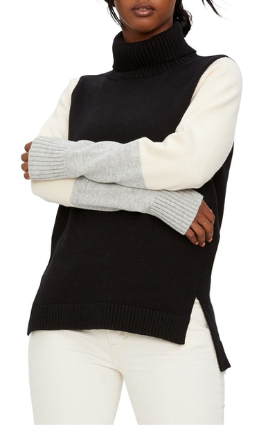 Noel Bristol Colorblock Turtleneck Sweater