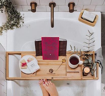 Pristine Bamboo Bathtub Caddy Tray