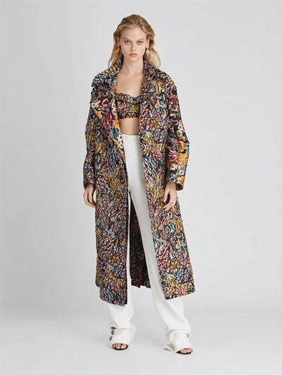 Floral Fil Coupé Coat