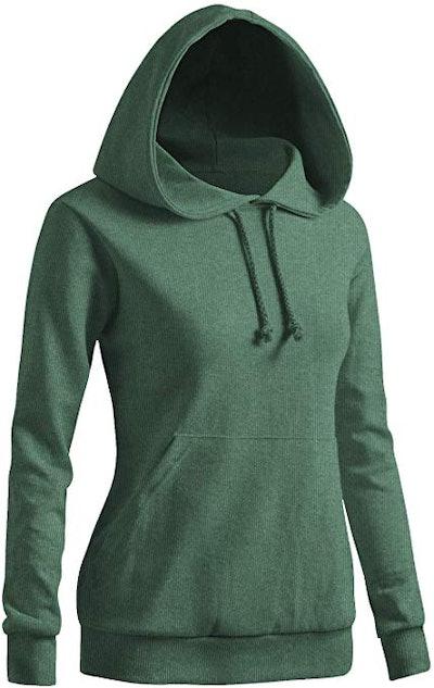 CLOVERY Pocket Long Sleeve Solid Hoodie