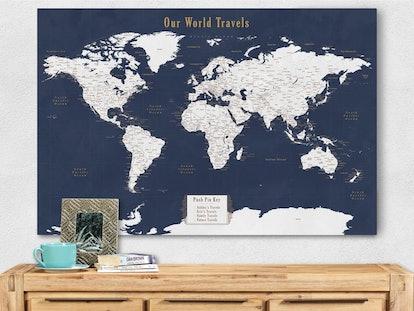 Travel Push Pin World Map