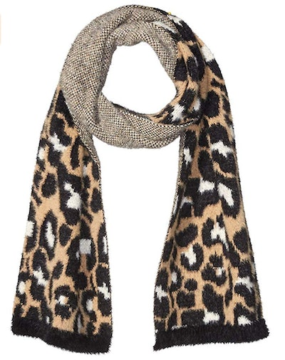 Daily Ritual Women's Animal Print Fuzzy Knit Scarf