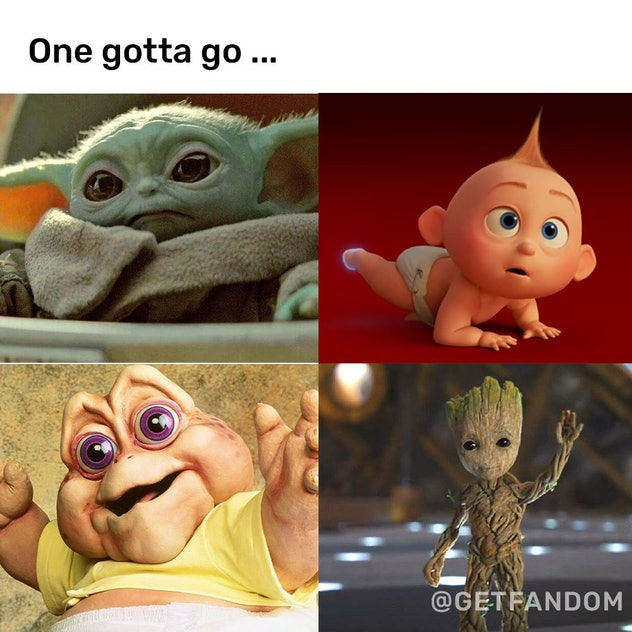 """A picture of Baby Yoda, Jack Jack, The """"I'm the Baby Dinosaur,"""" and mini Groot"""