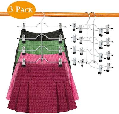 DOIOWN 4-Tier Skirt Hangers (3-Pack)