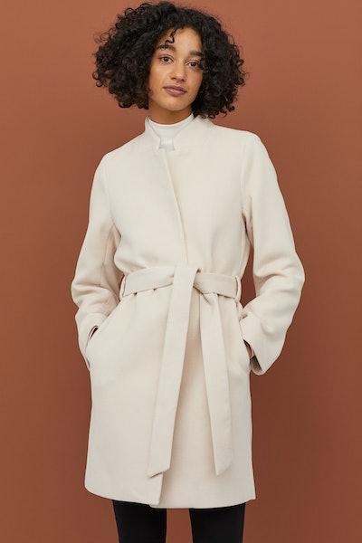 H&M Coat with Tie Belt