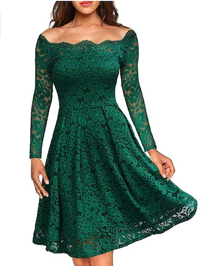MISSMAY Women's Vintage Floral Lace Party Dress