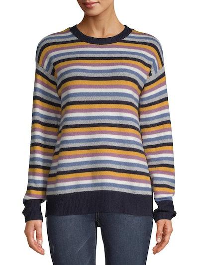 Jason Maxwell Women's Stripe Drop Shoulder Crew Pullover