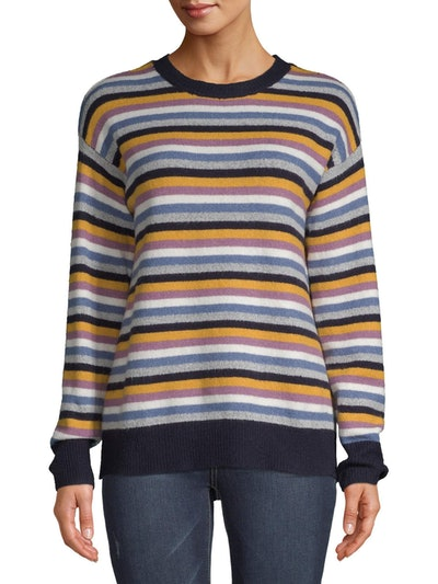Jason Maxwell Women's Stripe Drop Shoulder Crew Pullover