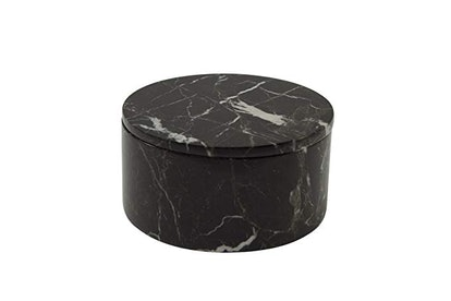 MarbleCrafter Black Zebra Marble Circular Box