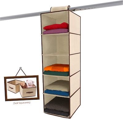 Ziz Home 5-Shelf Hanging Closet Organizer