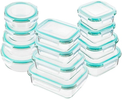Bayco Glass Food Storage Containers with Lids (12 Lids, 12 Containers)