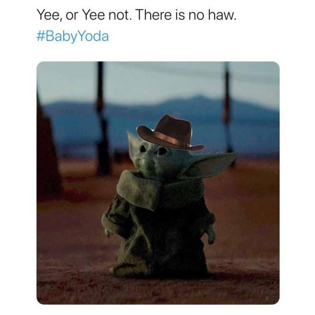 A picture of baby Yoda in a cowboy hat.