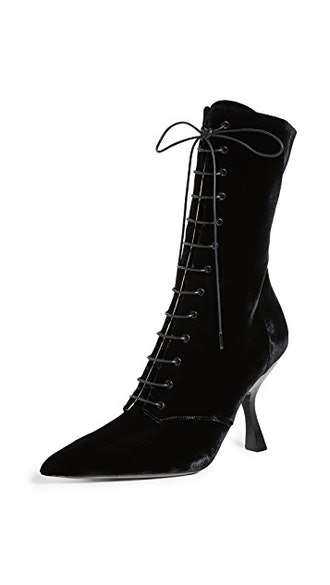 Velvet Lace Up Booties