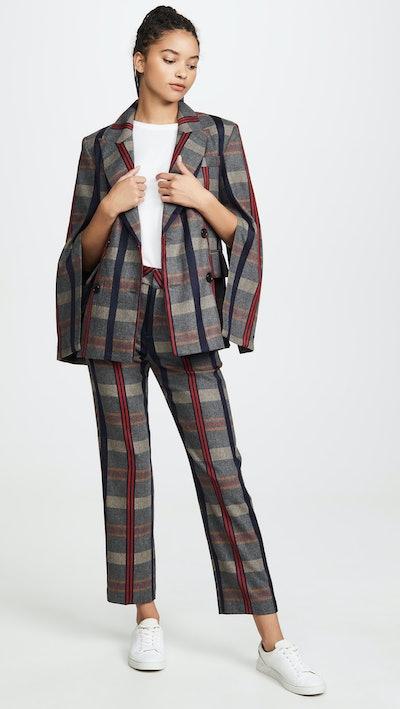 Plaid Danielle Split-Sleeve Blazer