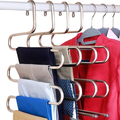 DOIOWN S-Type Stainless Steel Clothes Pants Hangers (Set of 3)