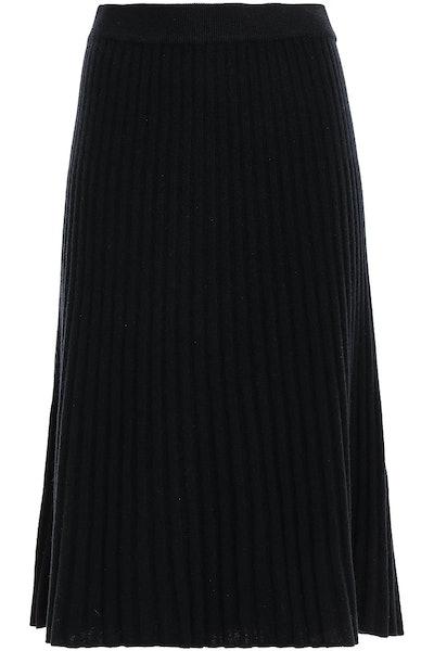 Ribbed Cashmere Midi Skirt