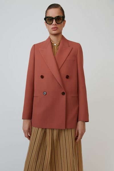 Double-Breasted Coral Blazer