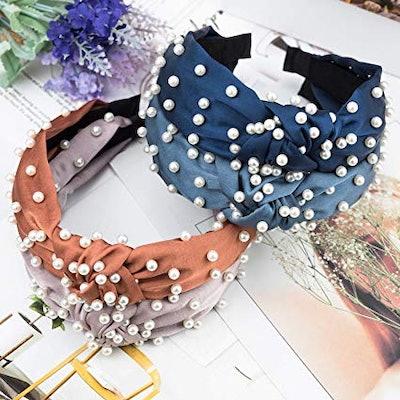 EAONE Pearl Headbands (6-Pack)