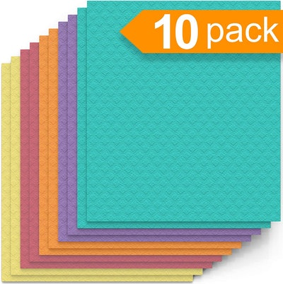 Swedish Dishcloth Cellulose Sponge Cloths (Pack Of 10)
