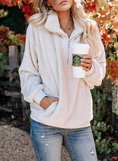 Acelitt Women's Fuzzy Casual Loose Oversized Sweatshirt
