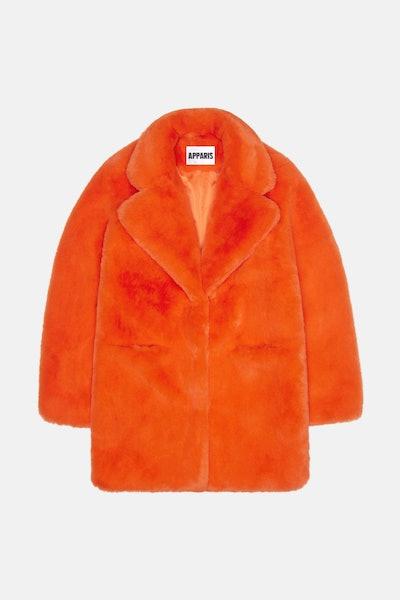Neon Orange Sophie Faux Fur Coat