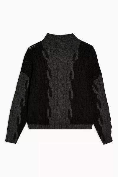 Black Plaited Knit Jumper