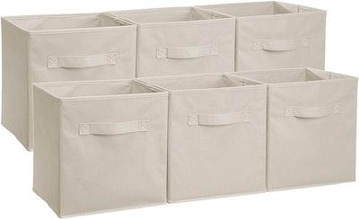 AmazonBasics Foldable Storage Bins Cubes Organizer (Set of 6)