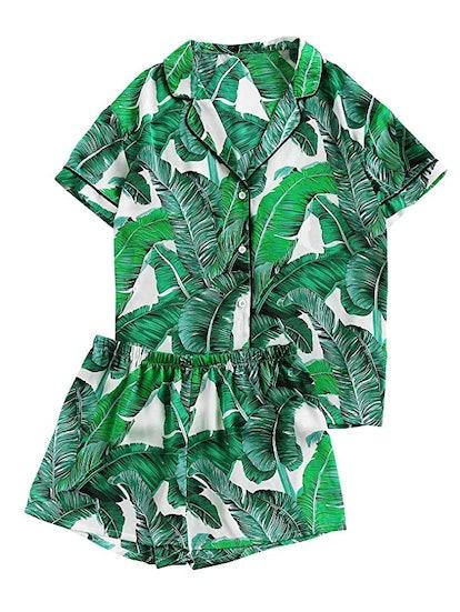Floerns Women's Notch Collar Palm Leaf Print Sleepwear
