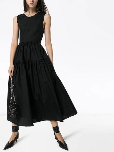 Open-Back Midi Sleeve Dress