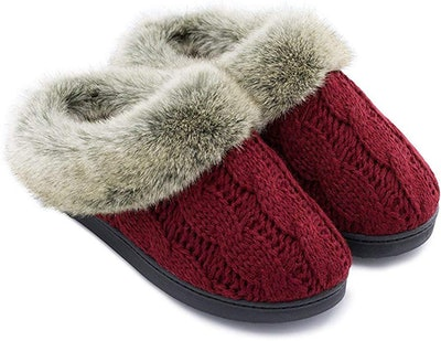 ULTRAIDEAS Soft Yarn Cable Knitted Slippers
